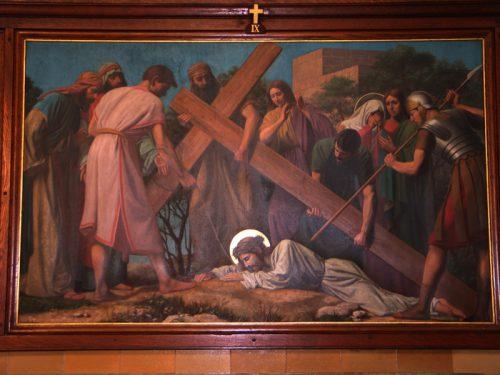De negende statie: Jezus valt voor de derde keer